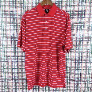 FJ Red Blue White Striped Polo Golf Shirt Large